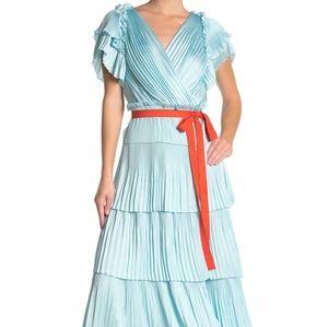 NWT: DVF Pleated Ruffle Silk Wrap Dress